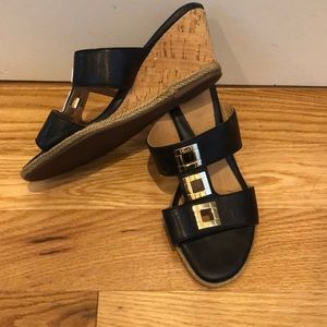 Sofft Black leather cork wedges